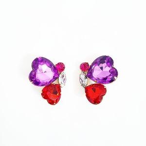 Vintage Christian Dior Jewelled Heart Earrings